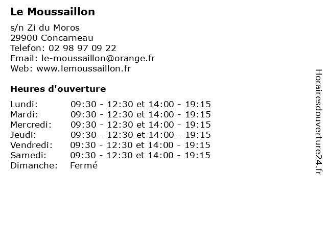Le Moussaillon à Concarneau: adresse et heures d'ouverture