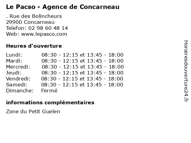 Le Pacso - Agence de Concarneau à Concarneau: adresse et heures d'ouverture