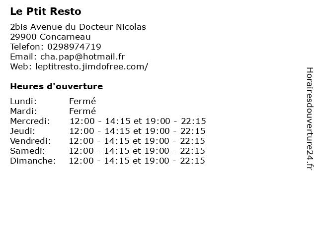 Le Ptit Resto à Concarneau: adresse et heures d'ouverture