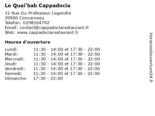 Le Quai'bab Cappadocia à Concarneau: adresse et heures d'ouverture