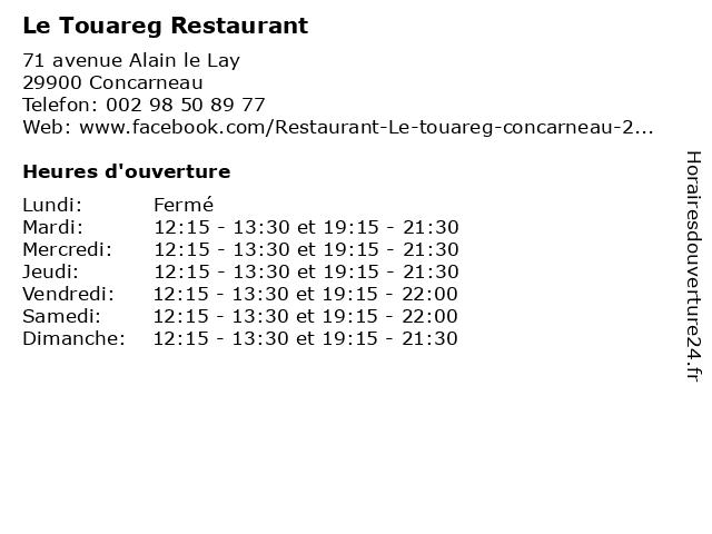 Le Touareg Restaurant à Concarneau: adresse et heures d'ouverture