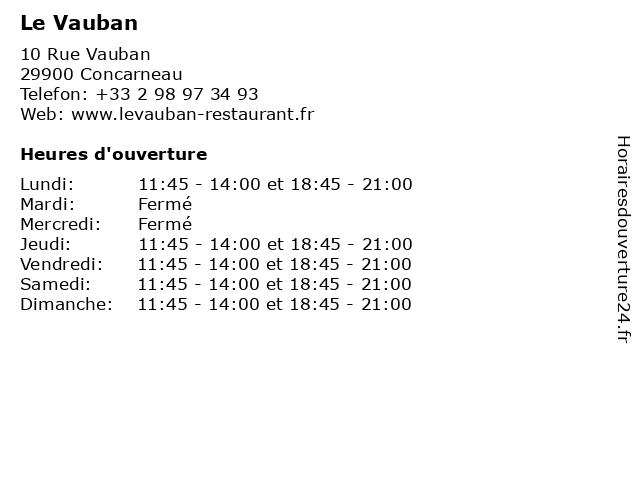Le Vauban à Concarneau: adresse et heures d'ouverture