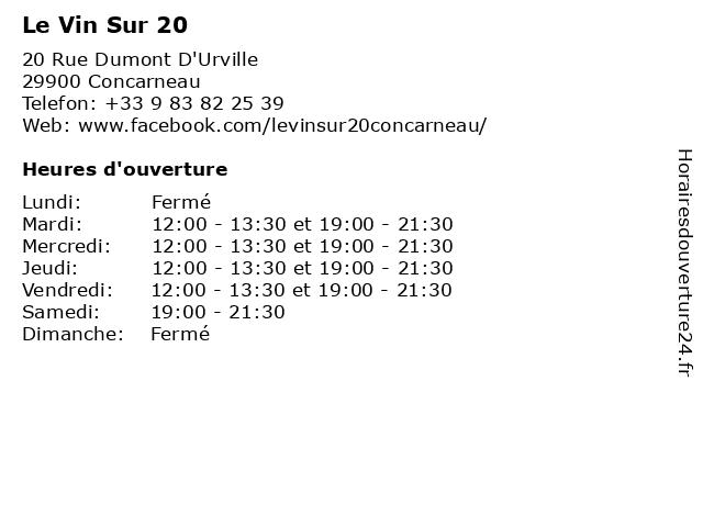 Le Vin Sur 20 à Concarneau: adresse et heures d'ouverture