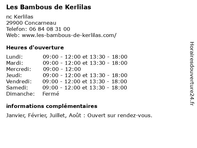 Les Bambous de Kerlilas à Concarneau: adresse et heures d'ouverture