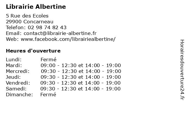 Librairie Albertine à Concarneau: adresse et heures d'ouverture