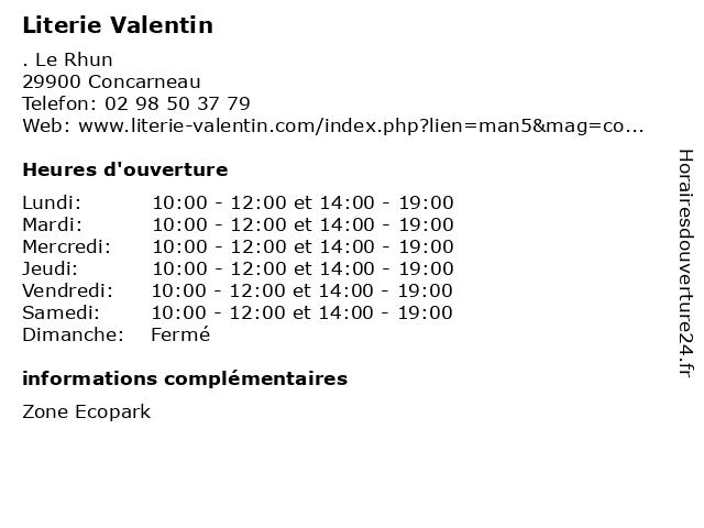 Literie Valentin à Concarneau: adresse et heures d'ouverture