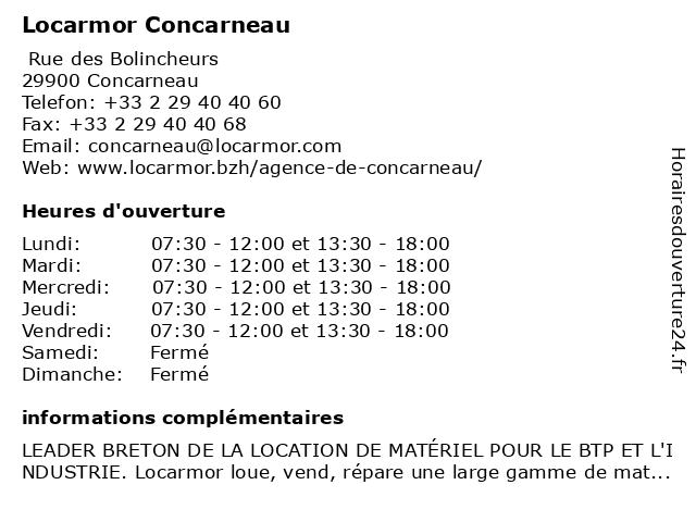 Locarmor Concarneau à Concarneau: adresse et heures d'ouverture