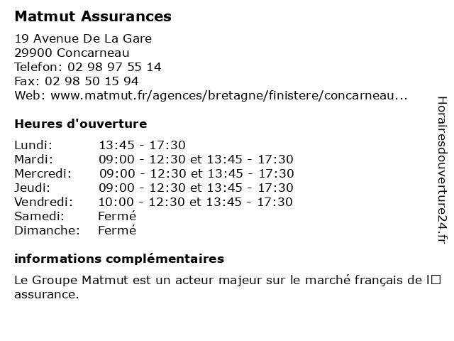 MATMUT Assurances à Concarneau: adresse et heures d'ouverture