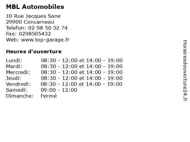 MBL Automobiles à Concarneau: adresse et heures d'ouverture