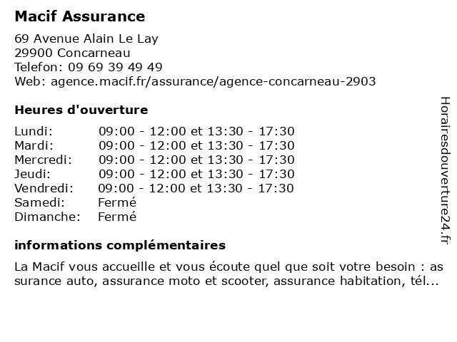 Macif Assurance à Concarneau: adresse et heures d'ouverture