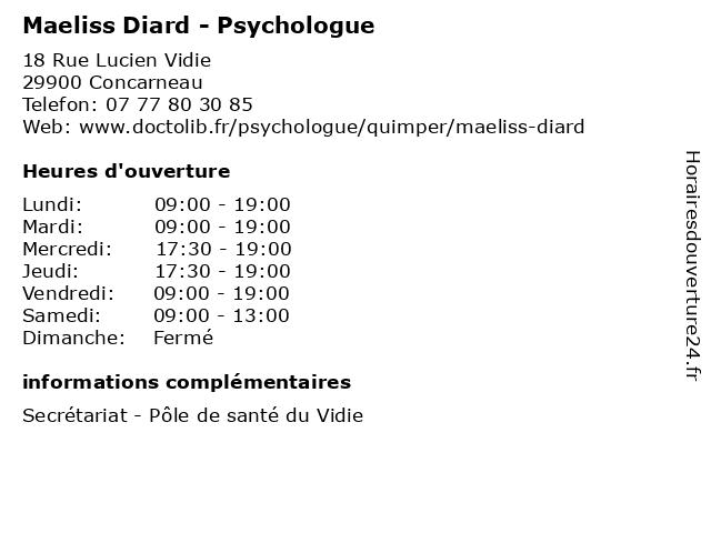 Maeliss Diard - Psychologue à Concarneau: adresse et heures d'ouverture
