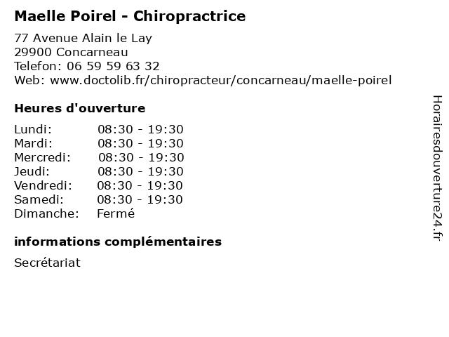 Maelle Poirel - Chiropractrice à Concarneau: adresse et heures d'ouverture