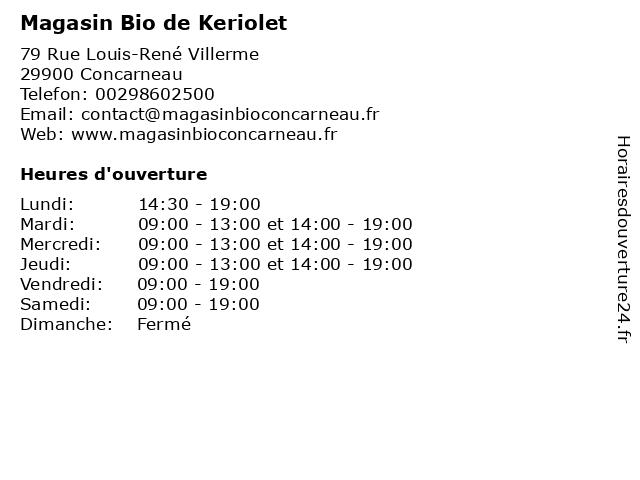 Magasin Bio de Keriolet à Concarneau: adresse et heures d'ouverture