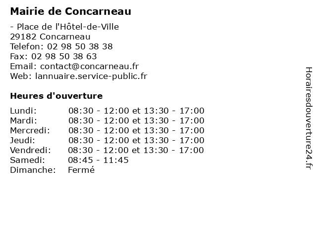Mairie de Concarneau à Concarneau: adresse et heures d'ouverture