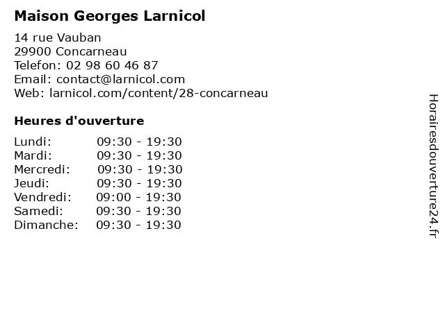 Maison Georges Larnicol à Concarneau: adresse et heures d'ouverture