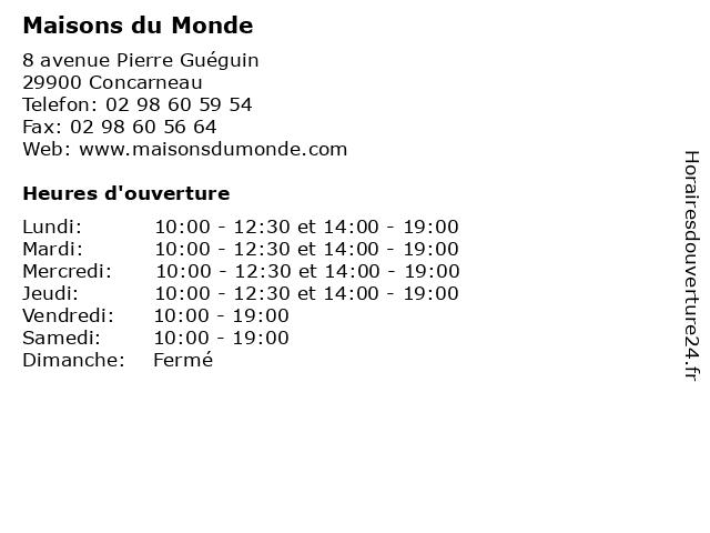 Maisons du Monde à Concarneau: adresse et heures d'ouverture