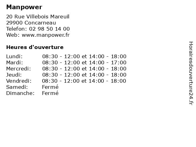 Manpower à Concarneau: adresse et heures d'ouverture
