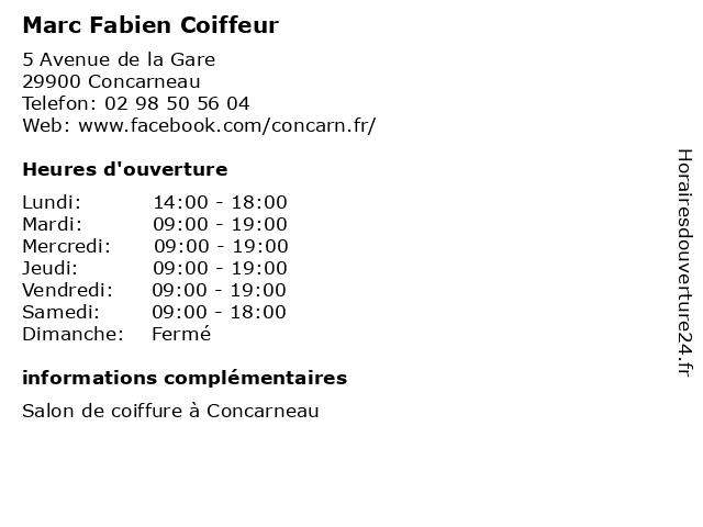 Marc Fabien Coiffeur à Concarneau: adresse et heures d'ouverture