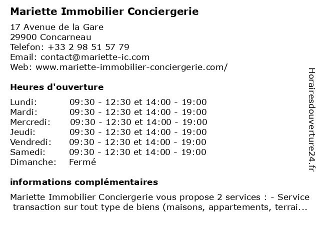 Mariette Immobilier Conciergerie à Concarneau: adresse et heures d'ouverture