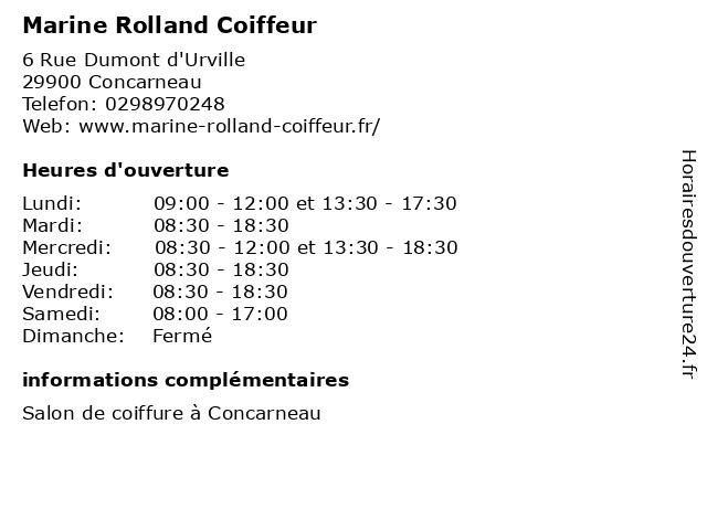 Marine Rolland Coiffeur à Concarneau: adresse et heures d'ouverture