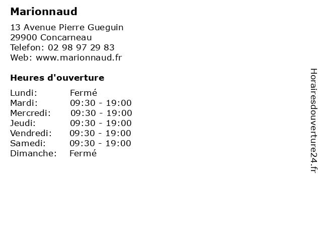 Marionnaud à Concarneau: adresse et heures d'ouverture