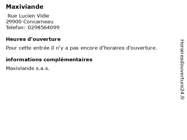 Maxiviande à Concarneau: adresse et heures d'ouverture