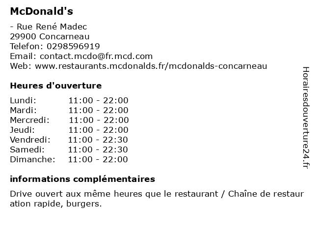 McDonald's à Concarneau: adresse et heures d'ouverture