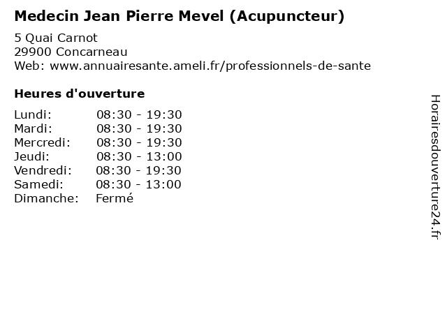 Medecin Jean Pierre Mevel (Acupuncteur) à Concarneau: adresse et heures d'ouverture