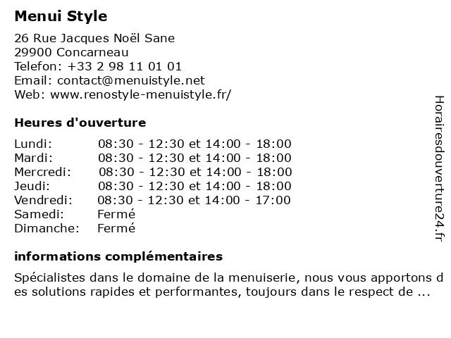 Menui Style à Concarneau: adresse et heures d'ouverture