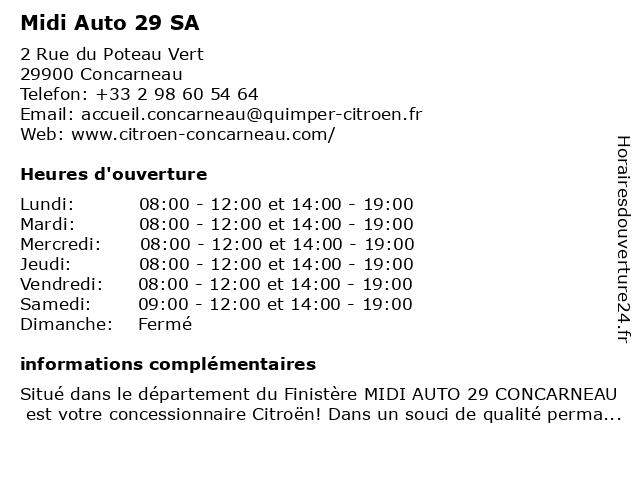 Midi Auto 29 SA à Concarneau: adresse et heures d'ouverture