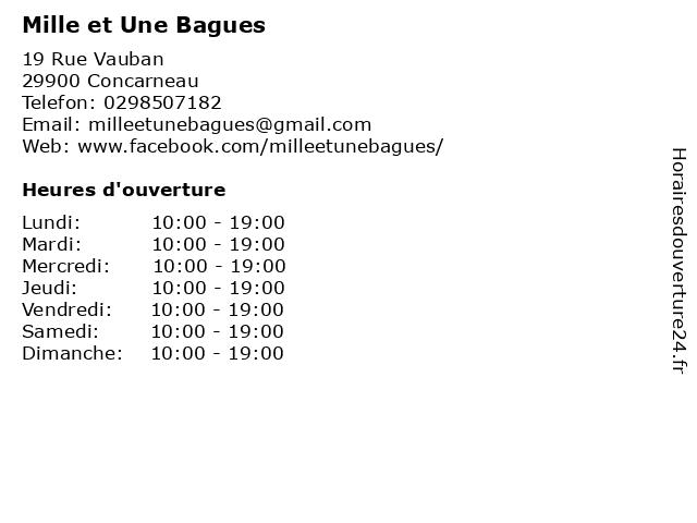 Mille et Une Bagues à Concarneau: adresse et heures d'ouverture