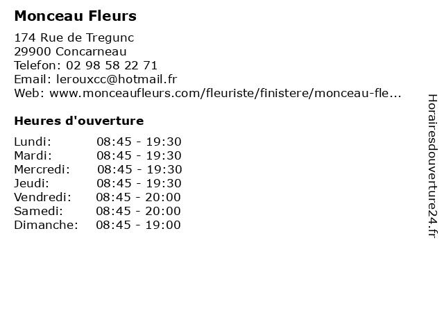 Monceau Fleurs à Concarneau: adresse et heures d'ouverture