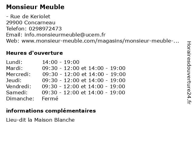 Monsieur Meuble à Concarneau: adresse et heures d'ouverture