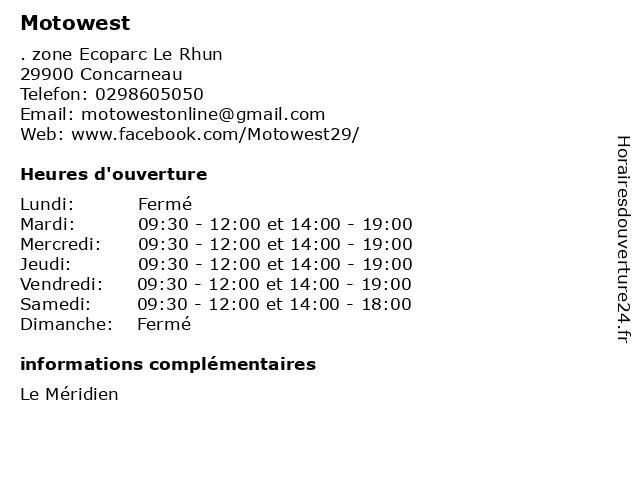 Motowest à Concarneau: adresse et heures d'ouverture