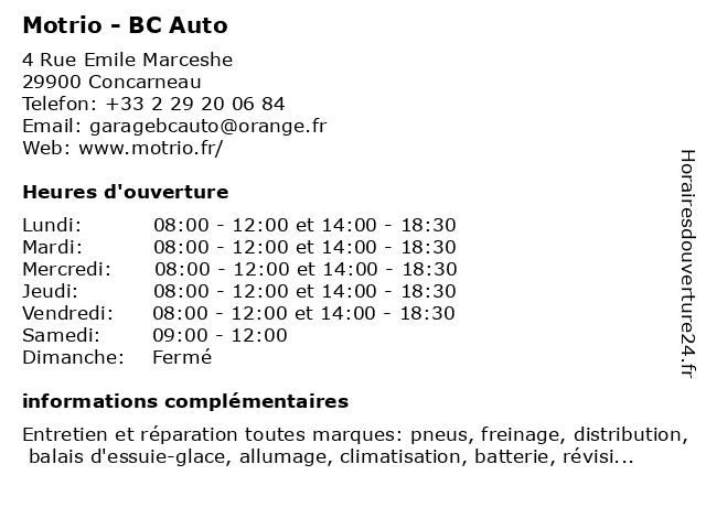 Motrio - BC Auto à Concarneau: adresse et heures d'ouverture