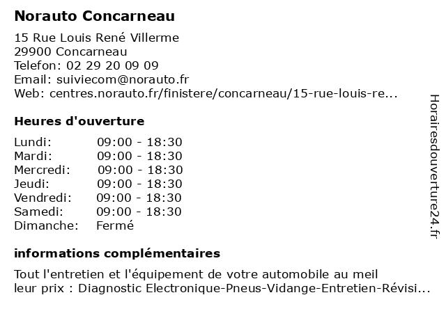 NORAUTO CONCARNEAU à Concarneau: adresse et heures d'ouverture