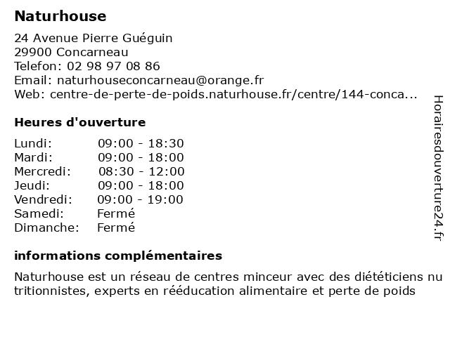 Naturhouse à Concarneau: adresse et heures d'ouverture