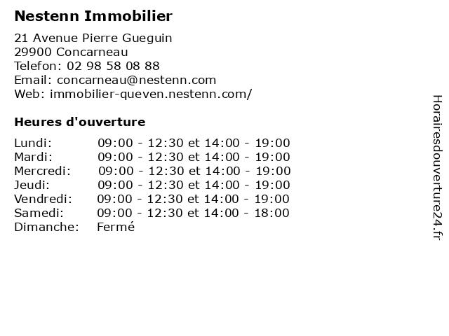 Nestenn Immobilier à Concarneau: adresse et heures d'ouverture