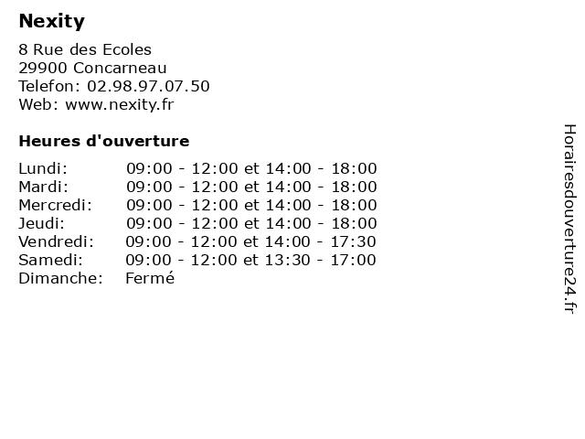 Nexity à Concarneau: adresse et heures d'ouverture