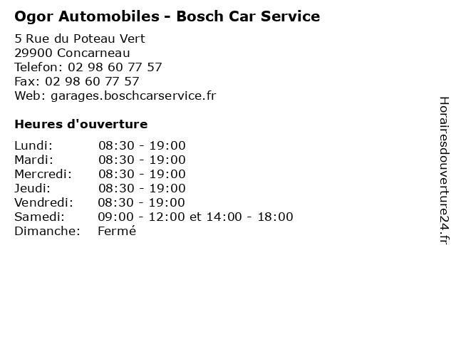 Ogor Automobiles - Bosch Car Service à Concarneau: adresse et heures d'ouverture