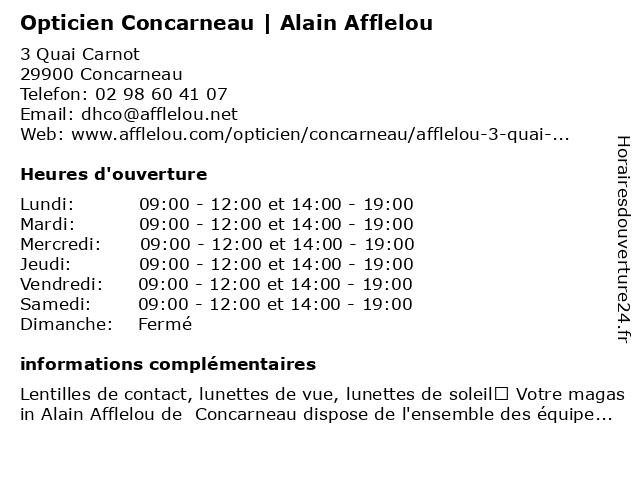 Opticien Alain Afflelou à Concarneau: adresse et heures d'ouverture