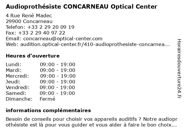 Opticien CONCARNEAU Optical Center à Concarneau: adresse et heures d'ouverture