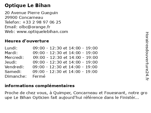 Optique Le Bihan à Concarneau: adresse et heures d'ouverture