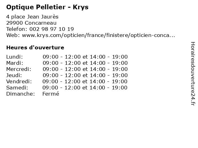 Optique Pelletier - Krys à Concarneau: adresse et heures d'ouverture
