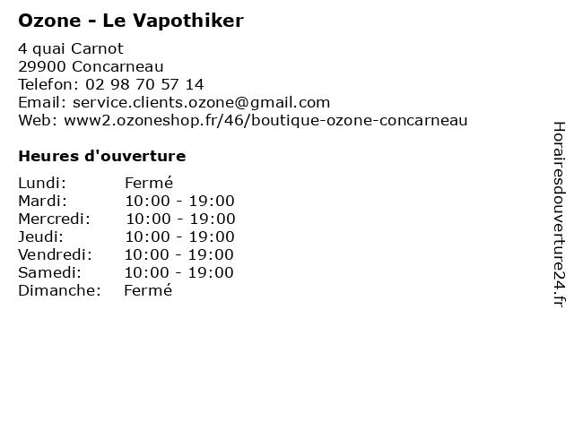 Ozone - Le Vapothiker à Concarneau: adresse et heures d'ouverture