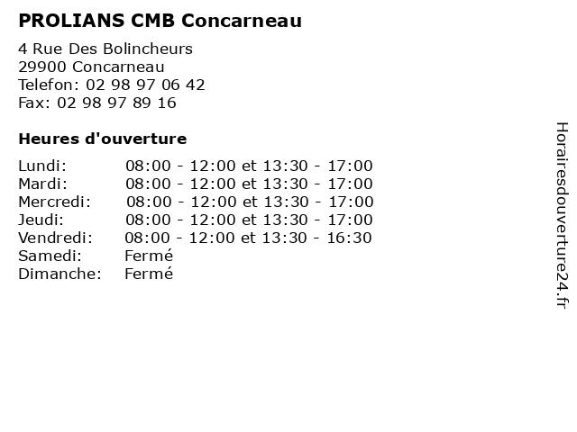 PROLIANS - CMB - Concarneau à Concarneau: adresse et heures d'ouverture