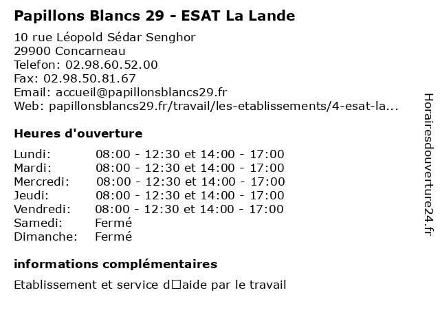 Papillons Blancs 29 - ESAT La Lande à Concarneau: adresse et heures d'ouverture