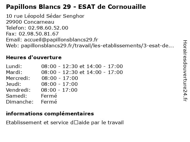 Papillons Blancs 29 - ESAT de Cornouaille à Concarneau: adresse et heures d'ouverture