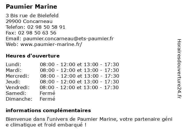 Paumier Marine à Concarneau: adresse et heures d'ouverture