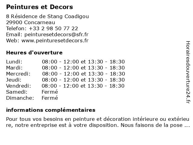 Peintures et Decors à Concarneau: adresse et heures d'ouverture
